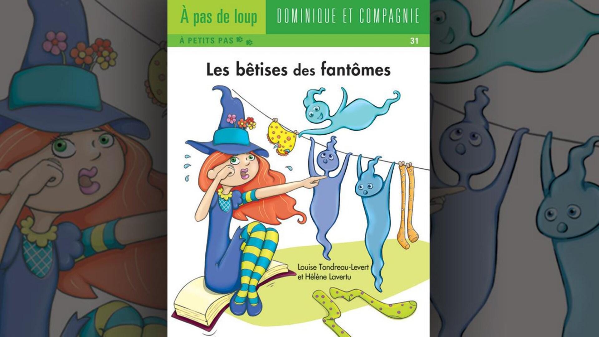 Illustration de la couverture du livre : des fantômes jouent sur une corde à linges et détachent les vêtements.