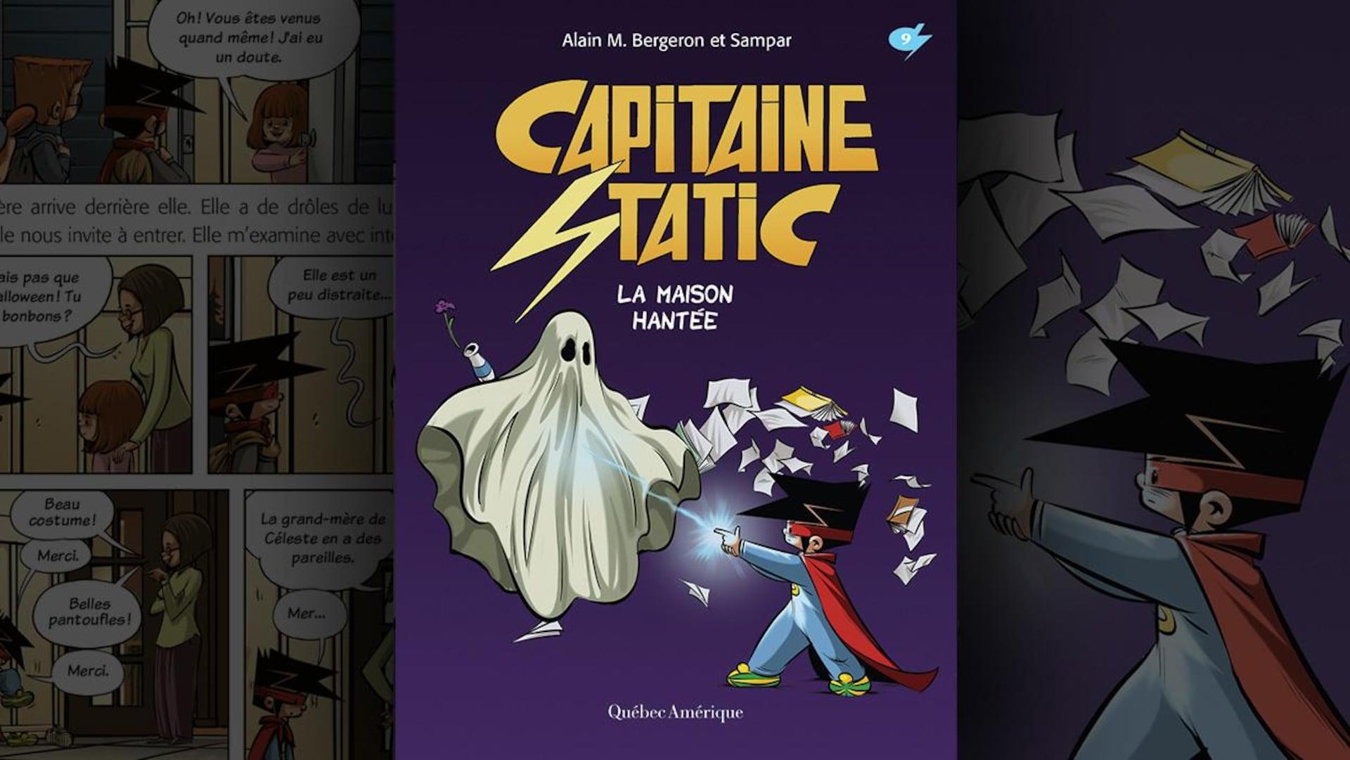 Illustration du livre : un enfant en super héros tire un rayon laser, avec son doigt, sur un fantôme.