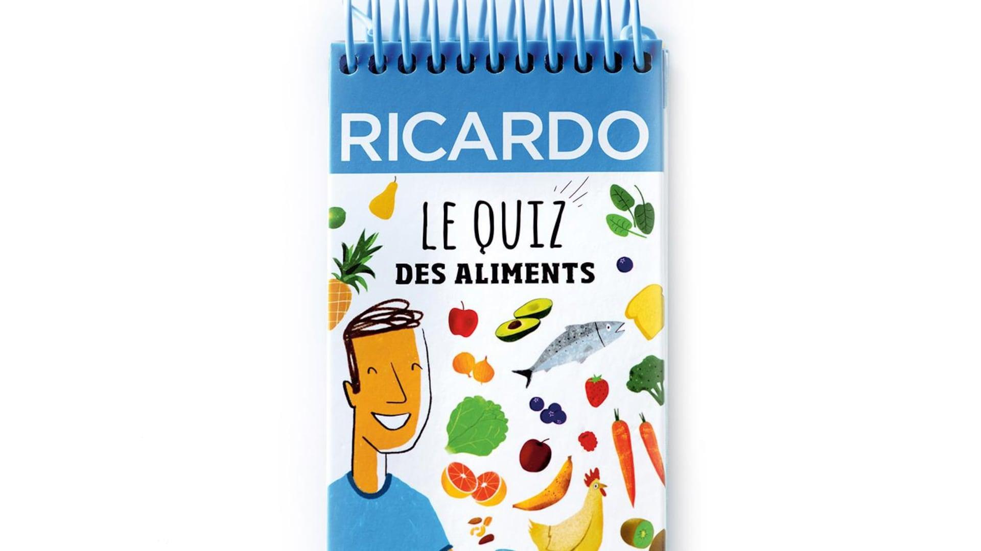 Ce carnet-jeu conçu par le chef cuisinier Ricardo regroupe près de 300 questions sur les aliments, les recettes et les ustensiles, déclinées en trois niveaux de difficulté, avec les réponses.