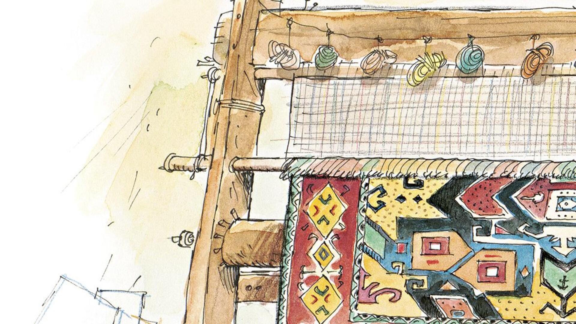 Une photo de la couverture : un enfant et des tapis colorés