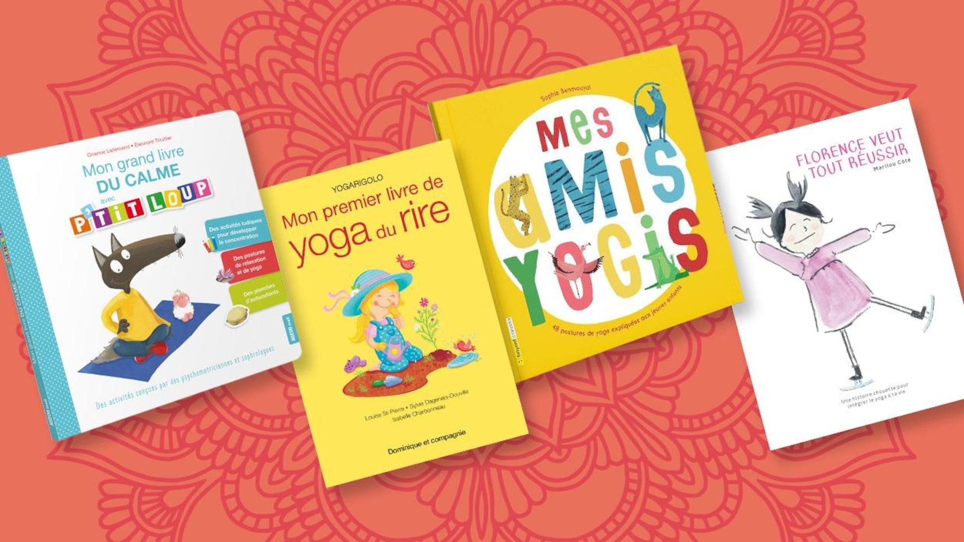 Photos de 4 livres jeunesse sur le yoga