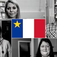 Miranda Girouard, Christian Mezarolle, Mélissa LaRose et Line Landry sont originaires de l'Acadie.