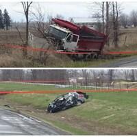 Le camion-benne et la voiture gravement endommagés après l'accident.