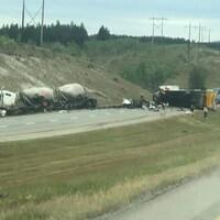 Collision sur l'autoroute.