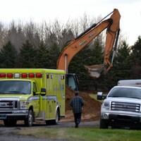 Une ambulance sur les lieux de l'accident de travail mortel.