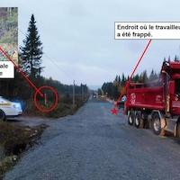 Une photo d'un chantier de construction lors d'une enquête sur un accident de travail mortel. Une voiture de police se trouve sur la gauche, un camion-benne à droite est en ligne avec une route en construction.