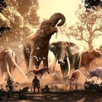 Illustration montrant des proboscidiens (mastodontes et ancêtres des éléphants) et des espèces du Cénozoïque.