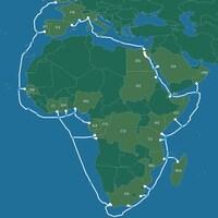 Une carte de l'Afrique montrant où passera le câble. Il entoure réellement le continent au complet.