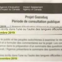 Une lettre dont un extrait est ressorti indique «Les commentaires écrits dans l'une ou l'autre des langues officielles seront acceptés jusqu'au 12 novembre 2019».
