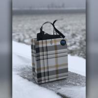 Un sac au bord d'un lac.