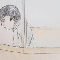 Une illustration d'Alexandre Bissonnette lors de son passage au tribunal le 26 mars 2018