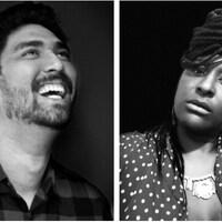 Montage de portraits en noir et blanc d'Alexandre Michaud et de Murielle Jassinthe.