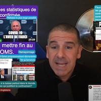 Capture d'écran tirée de la chaîne YouTube « Radio-Québec », animée par Alexis Cossette-Trudel. On y voit l'animateur entouré de coupures de journaux et d'énoncés de son cru qui laissent entendre que les gouvernements bernent la population au sujet du nombre de décès dus à la COVID-19.