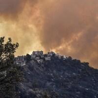Feu de forêt dans la région de Kabylie en Algérie.