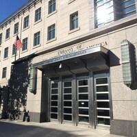 L'entrée de l'ambassade des États-Unis à Ottawa.
