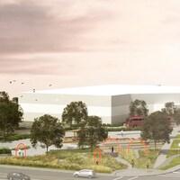 Esquisse du projet d'aménagement de la place de l'Aquaréna et du parc le Charnycois.