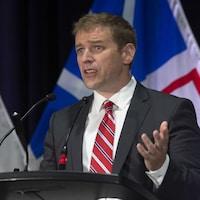 Andrew Furey donne un discours après l'annonce des résultats.