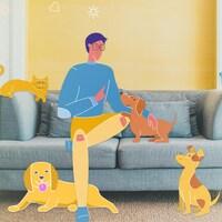 Illustration représentant un homme assis dans son salon entouré de ses animaux de compagnie (un chat, des chiens et une perruche)