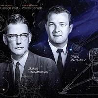 Le timbre présente des photos de James Chamberlin et Owen Maynard ainsi que les plans du module.