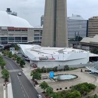 Vue aérienne de l'aquarium Ripley's au centre-ville de Toronto.