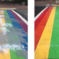 Une photo à gauche montre le passage à piéton arc-en-ciel vandalisé et à droite le passage nettoyé et remis à neuf.