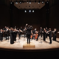 Un orchestre de musique classique en pleine prestation, le chef étant vu de dos.