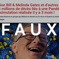 Un article dont le titre est « La Fondation Bill & Melinda Gates et d'autres ont prédit jusqu'à 65 millions de décès liés à une Pandémie – Dans une simulation réalisée il y a 3 mois ! ». Le mot FAUX est sur l'image.