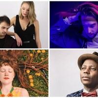 Montage photo de cinq artistes.