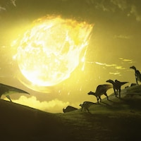 Illustration montrant une boule de feu tomber du ciel, derrière des dinosaures qui courent.