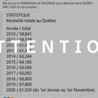 """Capture d'écran d'une publication Facebook dans laquelle il est écrit  : """"Elle est où la TABARNAK de PANDÉMIE pour détruire notre QUÉBEC PAR L'ÉGO et ses acolytes...."""". Une image présentant les statistiques de mortalité annuelles au Québec de 2010 à 2020 accompagne la publication. Le mot ATTENTION est superposé sur l'image."""