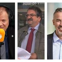 Les candidats à la mairie de Trois-Rivières Jean-François Aubin, Pierre-Benoit Fortin et Éric Lord.