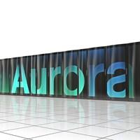 Une représentation de ce dont aura l'air le superordinateur Aurora, soit une rangée d'appareils noirs ressemblants à des réfrigérateurs.