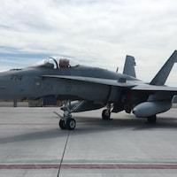 Un avion CF-18 sur le tarmac.
