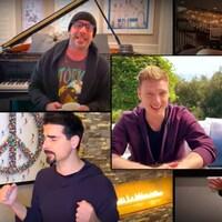 Les cinq membres du groupe Backstreet Boys sont visuellement disposés dans cinq cases d'une fenêtre de vidéo, telle une discussion en ligne, et interprètent le succès « I Want It That Way ».
