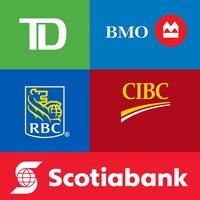 Des logos des banques TD, BMO, CIBC, RBC et Scotiabank.