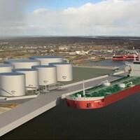 Une maquette informatique représentant un bateau à quai ainsi que huit réservoir de carburants en bordure du fleuve Saint-Laurent.