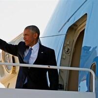 Le président des États-Unis, Barack Obama, à bord d'Air Force One