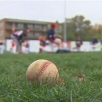 Balle de baseball sur un terrain gazonné