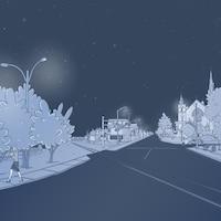 Un dessin du centre-ville de Lac-Mégantic avant le 6 juillet 2013.