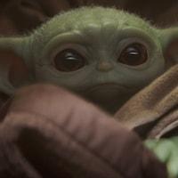 Gros plan sur Bébé Yoda.