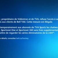 Sur le coup de 19h, Bell Télé a diffusé un message confirmant la situation à ses abonnés : « Québecor, propriétaire de Vidéotron et de TVA, refuse l'accès à sa chaîne TVA Sports aux clients de Bell Télé. Cette mesure est illégale. »