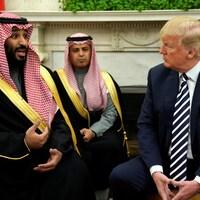 Le roi Salmane avec Donald Trump lors d'une visite à Washington le 20 mars 2018.