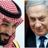 Montage des images du premier ministre israélien Benyamin Nétanyahou et le prince héritier saoudien Mohammed ben Salmane.