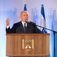 Le premier ministre d'Israël Benyamin Nétanyahou parle devant un micro
