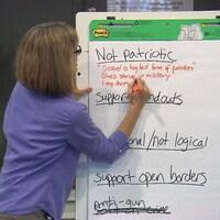 Une femme écrit sur un tableau des expressions en anglais: «non patriotique», «illogiques», notamment.
