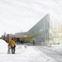 Une maquette de l'arrière de la bibliothèque, l'hiver.