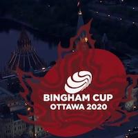 Un logo du tournoi devant le parlement d'Ottawa.