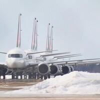 Cinq avions Boeing 737 MAX 8 de la flotte d'Air Canada.