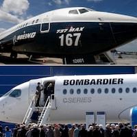 Un Boeing 737 MAX et un CS300 de Bombardier.