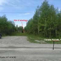 Une photo montre le site d'abattage au fond, le chemin Pascalis en premier plan et la direction de la route 117.